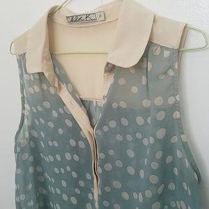 Flowy Sleeveless Collared Polka Dot Shirt